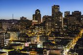 SAN FRANCISCO, CALIFORNIA - January 13, 2013:  Dusk view of Chinatown and Nob Hill in downtown San F