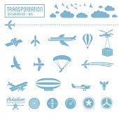 Transportation icons set - air infographic symbols & design elements