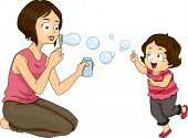 Illustration of a Mother Blowing Bubbles with Her Daughter