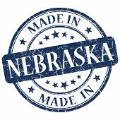 Made In Nebraska Blue Round Grunge Isolated Stamp