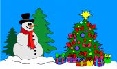 A Big Snowman With Christmas Tree