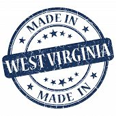 Made In West Virginia Blue Round Grunge Isolated Stamp