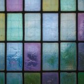 Colored Stained Glass Window With Regular Block Pattern Blue Green Tone