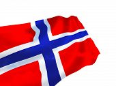Illustration of Norway flag with sky, waving in the wind