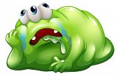 Illustration of a disappointed monster on a white background