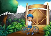 Illustration of a boy in the frontyard with a bike