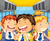 Illustration of the happy kids inside the schoolbus