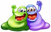 Illustration of the two happy monsters on a white background
