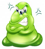 Illustration of a very angry green monster on a white background
