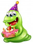 Illustration of a greenslime monster celebrating a birthday on a white background