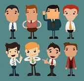 stock photo of caricatures  - Set of businessman characters poses office worker eps10 vector format - JPG