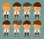 Set Of Businessman Characters Poses , Office Worker