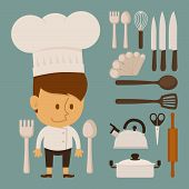 Chef And Tool , Flat Design