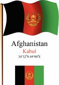 Afghanistan Wavy Flag And Coordinates