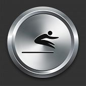 Long Jump Icon on Metallic Button Collection