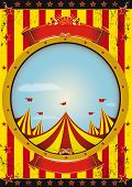 Entertainment circus poster. A circus poster with a big top and a large empty circle frame