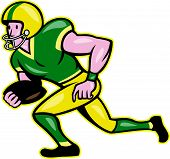 picture of scat  - Illustration of an american football gridiron wide receiver running back player running with ball facing side set in isolated background done in cartoon style - JPG