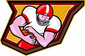 pic of scat  - Illustration of an american football gridiron running back player running with ball facing front fending set inside shield done in retro style - JPG