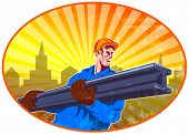 image of girder  - Illustration of construction steel worker carrying i - JPG