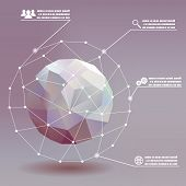 stock photo of earth structure  - Geometric ball social networks infographics whith icons concept illustration background vector - JPG