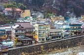 The small town of Shibu Onsen in Nagano Prefecture. The town is famed for the numerous historic bath houses located there.