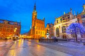 Historical city hall in old town of Gdansk, Poland