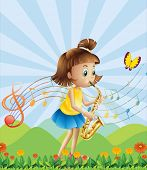 Illustration of a young lady at the hilltop playing with her saxophone