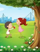 Illustration of a wedding proposal near the tree