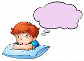Illustration of a young boy leaning over the pillow with an empty callout on a white background