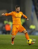 BARCELONA - JAN, 12: Sergio Ramos of Real Madrid during the Spanish League match between Espanyol an