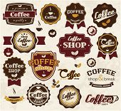 Collection of vintage retro coffee stickers, badges, ribbons and labels, vector illustration