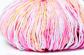 skein of colored yarn melange closeup