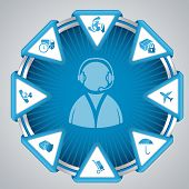 Infographic Design With Call Center Symbol