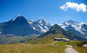 Eiger, Moench and Jungfrau mountains in the Jungfrau region