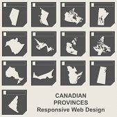 Set of Canadian provinces responsive flat web design map buttons isolated with clipping path.