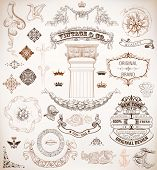 Vector. Set of retro elements: baroque frames, banners, retro labels, classic column.