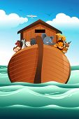 stock photo of noah  - A vector illustration of wild animals on Noah - JPG
