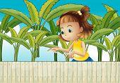 Illustration of a young girl at the banana plantation
