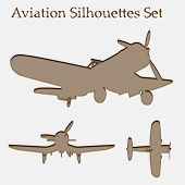 A vintage old set of brown planes drawings on a beige background. It is a group or collection of air