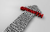 3d white text with key growth and success words for 2014