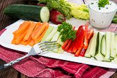 image of crudites  - Mixed Crudites (Celery Cucumber Carrot and Red Pepper) with Dip