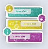 chemistry banners with icons and formulas