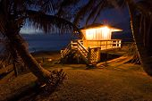 Life guard hut at twilight, Kamaole beach park, Maui, Hawaii
