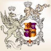 Heraldic Design With Griffin, Knight And Coat Of Arms