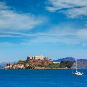 stock photo of alcatraz  - Alcatraz island penitentiary in San Francisco Bay California USA view from Pier 39 - JPG