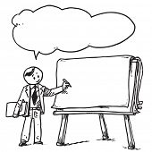 Teacher with flipchart speaking something