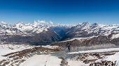 Snow Mountain Range Landscape At Alps Region, Zermatt, Switzerland