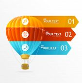 Vector hotair ballon, infographics options banner
