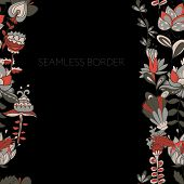 Border With Abstract Hand-drawn Flowers