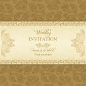 Turkish cucumber wedding invitation, gold